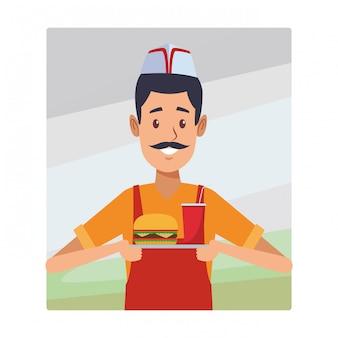 Kellner-cartoon des jungen mannes