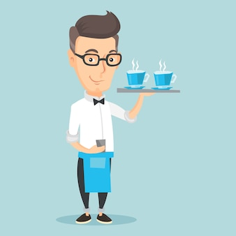 Kellner, der behälter mit tassen kaffee oder tee hält.