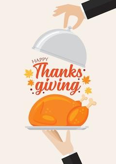 Kellner, der einen truthahn mit happy thanksgiving-schriftzug serviert. für grußkarten