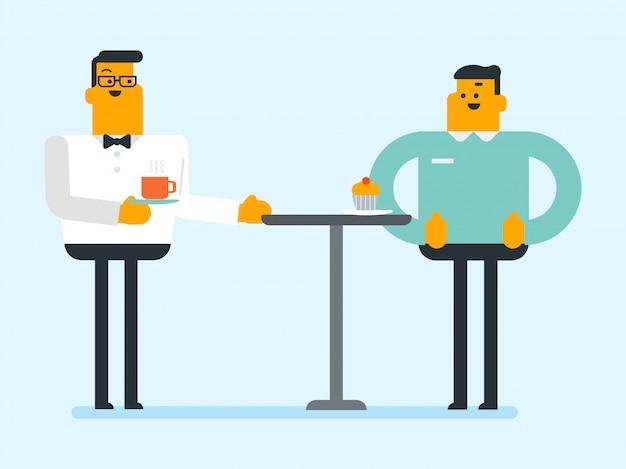 Kellner, der gast mit heißem getränk an der kaffeestube dient