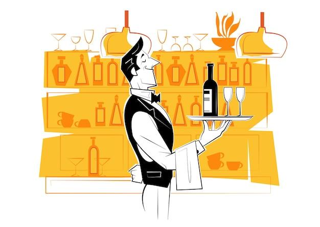 Kellner hält ein silbernes tablett mit einer flasche wein und weingläsern.
