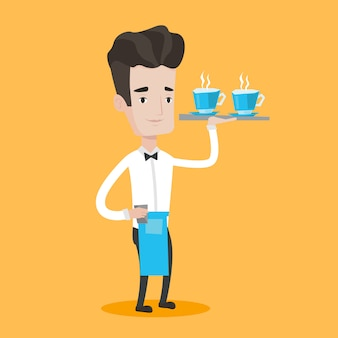 Kellner hält tablett mit tassen kaffee oder tee.