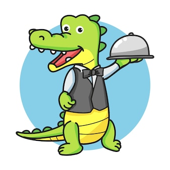 Kellner-krokodil-karikatur-maskottchen-charakter, der eine silberne haube oder eine glasglocke hält.