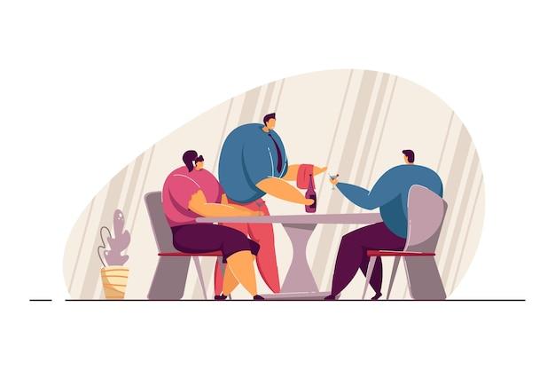 Kellner servieren paar im restaurant. männlicher charakter, der der flachen vektorillustration des mannes und der frau eine flasche alkohol bringt. romantik, dating, liebeskonzept für banner, website-design oder landing-webseite