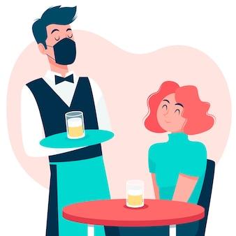 Kellner trägt gesichtsmaske und servierdesign
