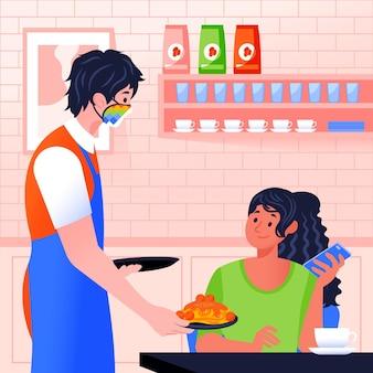 Kellner trägt gesichtsmaske und serviert