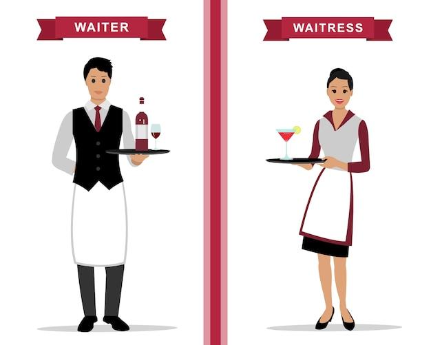 Kellner und kellnerin mit tabletts.