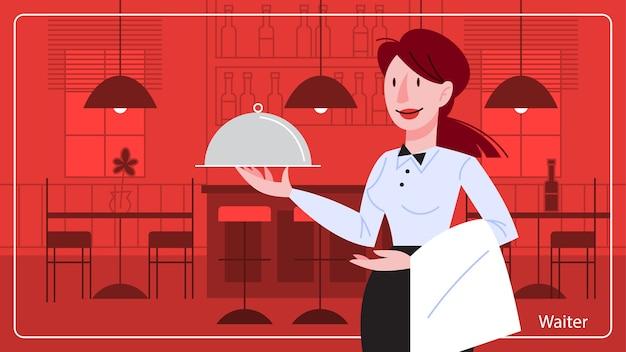 Kellnerin, die im restaurant steht und ein silbernes tablett hält. restaurantpersonal
