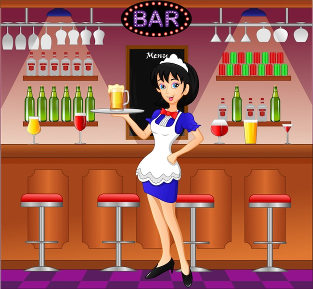 Kellnerin in der kneipe, im café oder in der bar