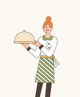 Kellnerin serviert teller flache vektor-illustration. junge kellnerin, die schürze trägt und tablett mit deckel-cartoon-figur hält. fröhlicher restaurantmitarbeiter. professioneller catering-service-mitarbeiter.