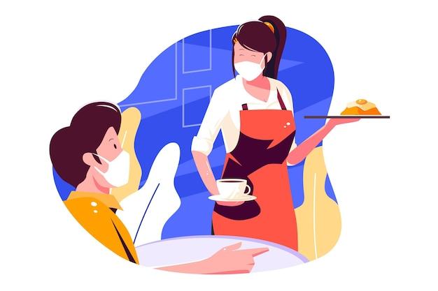 Kellnerin trägt gesichtsmaske und serviert