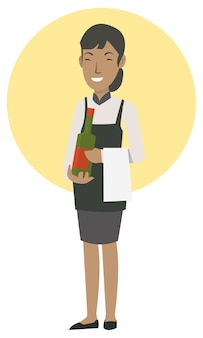 Kellnerinnen bringen dem gast ordnungswein