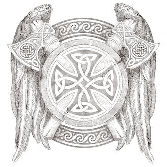 Keltischer schild und zwei äxte mit flügeln. wappen der wikinger mit einer nationalen verzierung. bleistift handzeichnung.