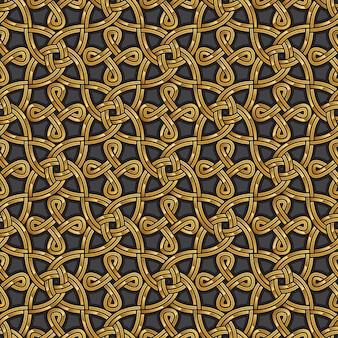 Keltisches nahtloses muster aus glänzendem gold
