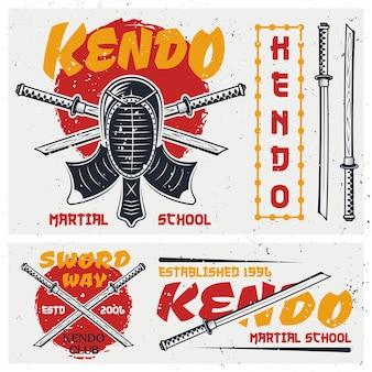 Kendo japanische kampfkunstsatz von farbigen logos, emblemen und elementen mit schutzhelm und schwertern auf hintergrund mit grunge-texturen