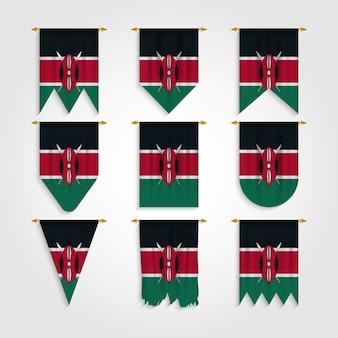 Kenia flagge in verschiedenen formen, flagge von kenia in verschiedenen formen