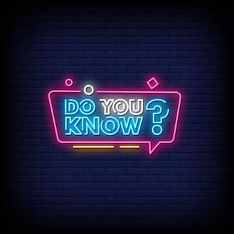 Kennen sie neon signs style text vector
