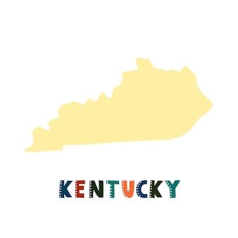 Kentucky-karte isoliert. usa-sammlung. karte von kentucky - gelbe silhouette. schriftzug im doodle-stil auf weiß