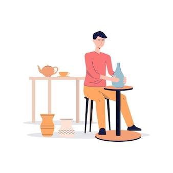 Keramik- oder töpfermanncharakter, der an töpferscheibe arbeitet und tonvase macht, flache vektorillustration lokalisiert auf weißer oberfläche