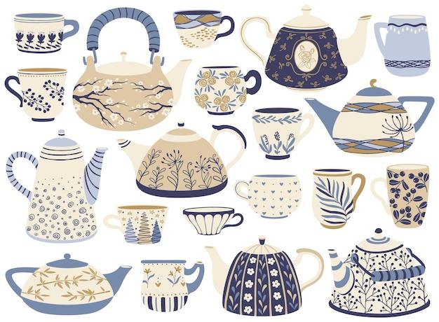 Keramik-teekanne und tasse porzellan-teekessel kaffeetassen mit dekorativen elementen vektor-set