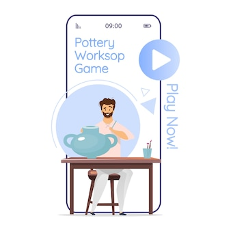 Keramik workshop spiel cartoon smartphone app bildschirm. keramik. porzellan. tonwarenstudio. handy-displays mit flachem charakter-design. anwendung telefon niedliche schnittstelle