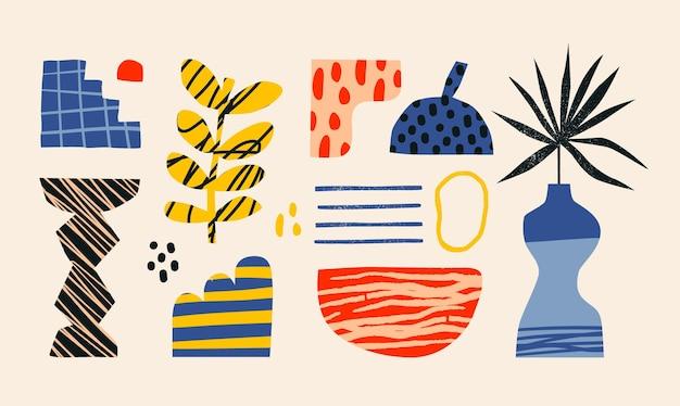 Keramikvasen und zufällige abstrakte doodle-objekte abstraktion-keramik-konzept verschiedene texturen
