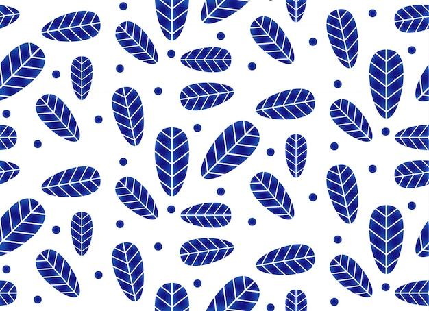 Keramisches muster mit blättern, keramischem nahtlosem design des porzellans, blauer und weißer tapete mit blattdekor