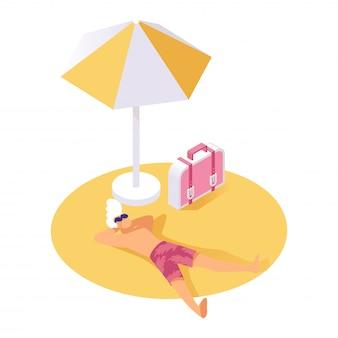 Kerl, der auf isometrischer vektorillustration des sandes stillsteht. urlauber, der während der sommerferien, ferien stillsteht
