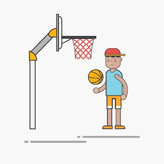 Kerl, der basketball spielt