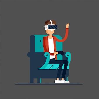 Kerl, der eine gute zeit hat, im sessel zu sitzen, der virtual-reality-helm trägt. manncharakter im stuhl genießt vr-gerät cooles konzept auf virtual-reality-headset im einsatz.
