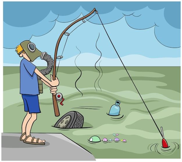 Kerl, der in der abwasserkarikaturillustration fischt