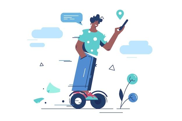 Kerl, der kreiselroller reitet. mann mit smartphone auf elektroroller. gyroscooter, selbstausgleichendes transportgerät. gyroboard, zweiradtransporter.