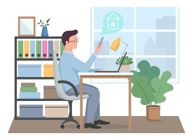 Kerl, der smart home sicherheit bei der arbeit flache farbe gesichtslosen charakter steuert. mann mit remote-sicherheitssystem. hausschutz isolierte karikaturillustration für webgrafikdesign und -animation