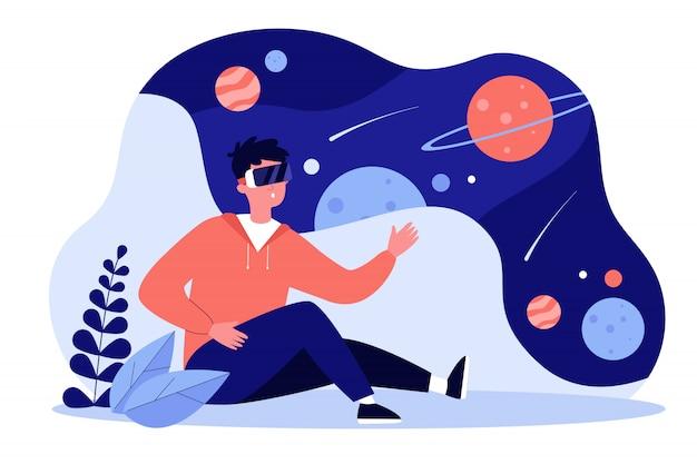 Kerl, der vr-headset trägt, das welt und galaxie erforscht
