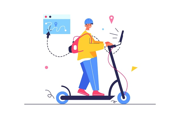 Kerl fährt mit einem elektroroller die straße entlang, kerl mit rucksack und helm
