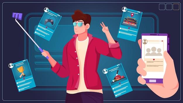 Kerl hält selfie-stick mit angehängter smartphone-illustration