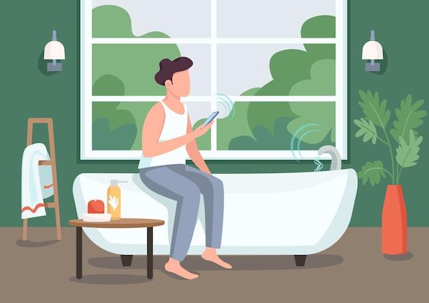 Kerl in der flachen farbe des intelligenten badezimmers. junger mann mit smartphone 2d-zeichentrickfigur mit automatisierter badewanne auf hintergrund. fernsteuerung des wasserflusses. innovative technologie im leben