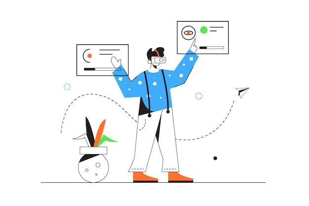 Kerl in der virtuellen brille, die sich mit dateien auf virtuellen fliegenden anzeigen befasst, lokalisiert auf weißem hintergrund, flache illustration
