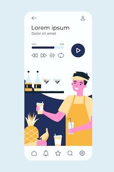 Kerl in uniform, die fruchtlimonaden, smoothie und cocktails flache illustration macht