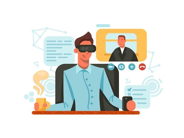 Kerl mit brille der virtuellen realität, um per video zu kommunizieren. vektorillustration