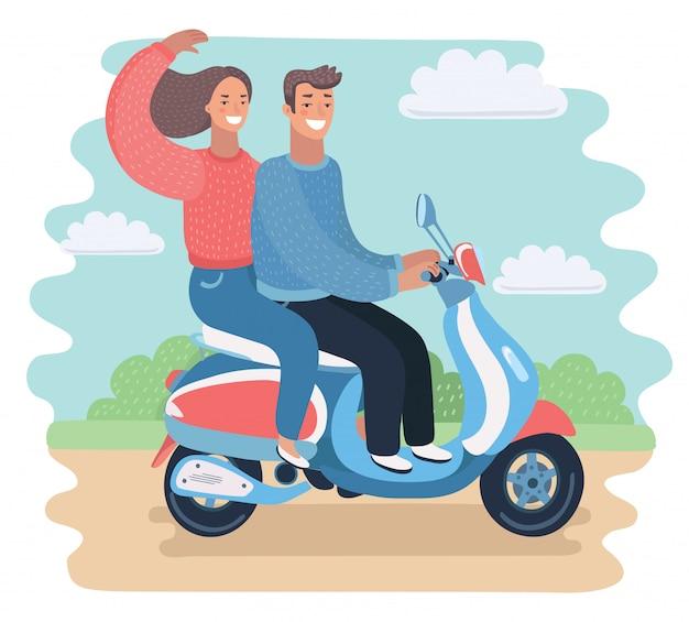 Kerl mit einem mädchen, das auf einem motorrad reitet. illustration
