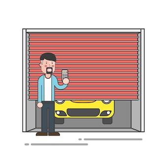 Kerl mit einem spitzbart, der den garagentorfernvektor hält