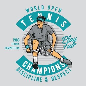 Kerl spielt tennis