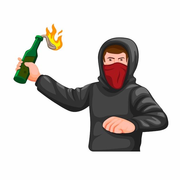 Kerl tragen hoodie und maske, die molotow-cctail-posefigur wirft, hooligan-anarchie-symbolkonzept-karikaturillustration lokalisiert im weißen hintergrund