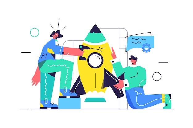 Kerl und mädchen bereiten große rakete für start vor, startup-startup, mädchen mit bohrer lokalisiert auf weißem hintergrund