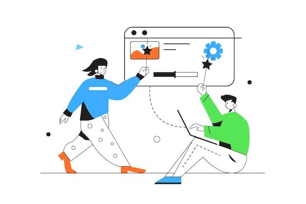 Kerl und mädchen, die magische einstellung auf großem virtuellem bildschirm lokalisiert auf weißem hintergrund, flache illustration tun