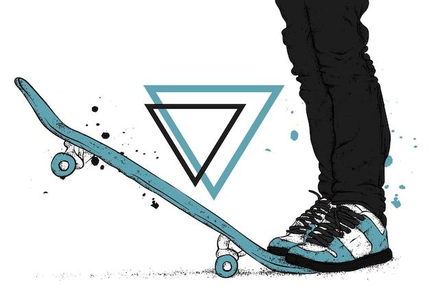 Kerl und skateboard