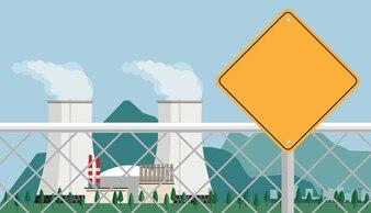 Kernkraftwerk und Fabrik.