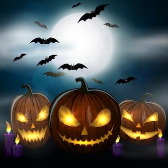 Kerze, bunte unheimliche halloween-illustration.
