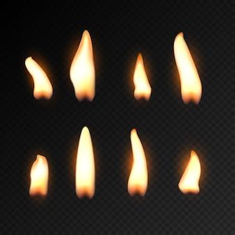 Kerze feuer flamme isoliert. realistische kerze helle flamme